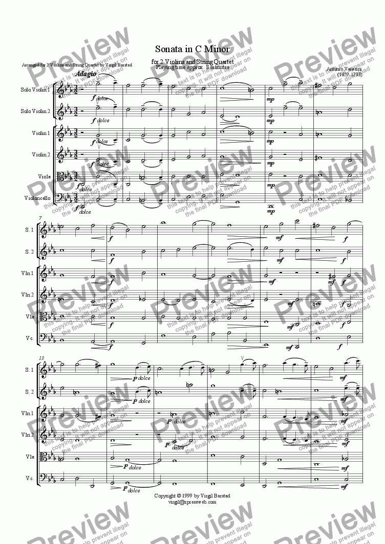 page one of Sonata in C Minor for Two Violins and String Quartet
