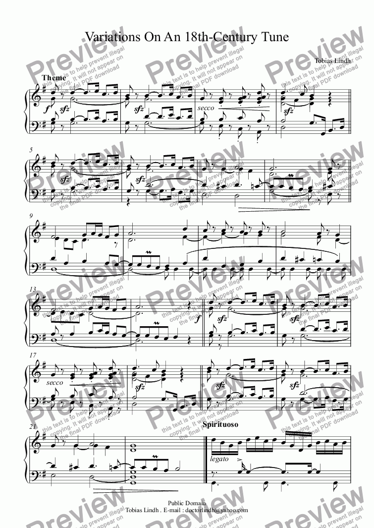 page one of Variations On An 18th-Century Tune