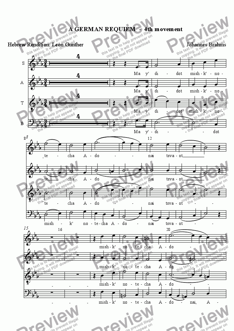 page one of A GERMAN REQUIEM  -  4th movement