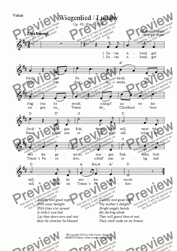 Wiegenlied Lullaby Voice Lyrics Guitar Chords Sheet Music Pdf