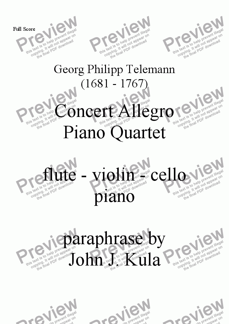 page one of Concert Allegro - piano quartet