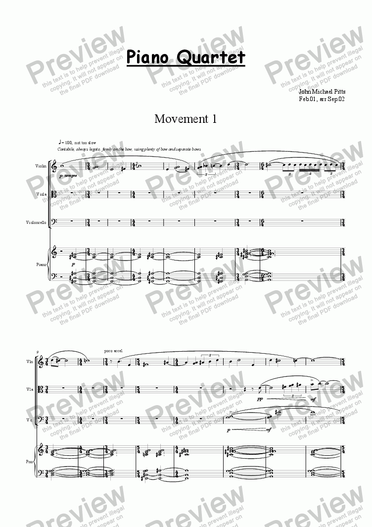 page one of Piano Quartet [2002]