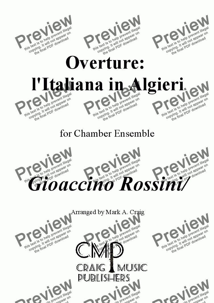 page one of Rossini: l'Italiana in Algieri Overture - for Chamber EnsembleASALTTEXT