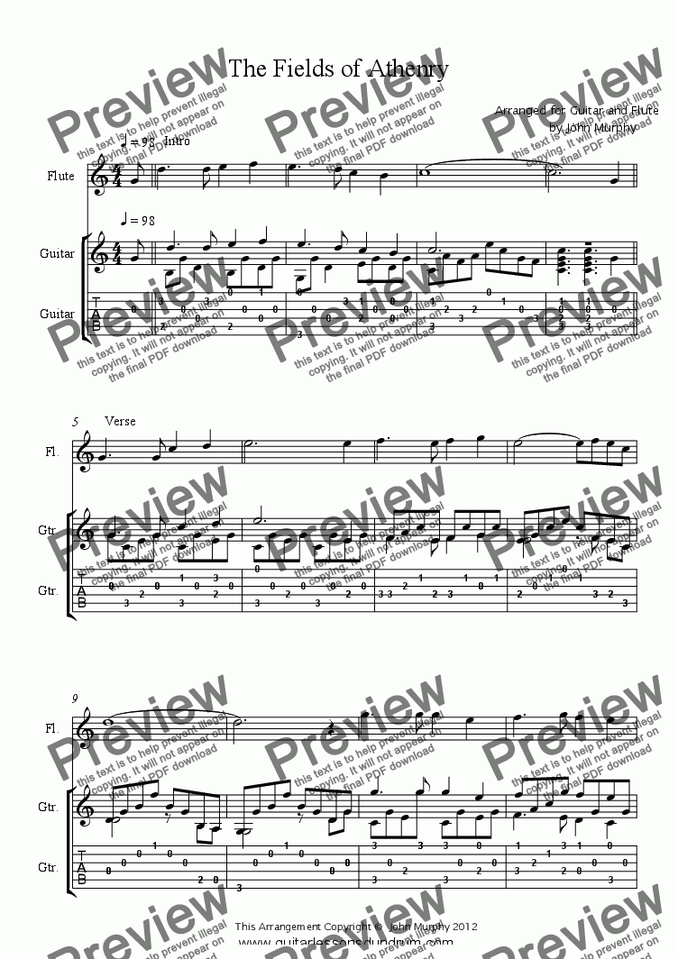 page one of The Fields of Athenry  Flute & Guitar
