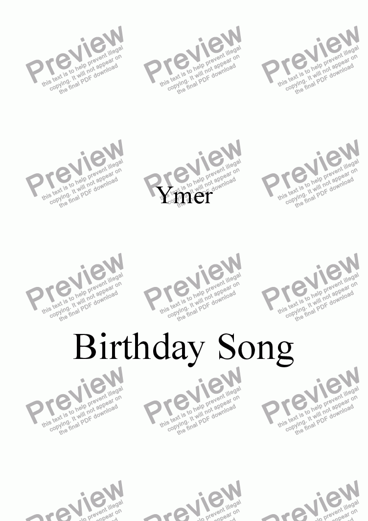 page one of Birthday Song