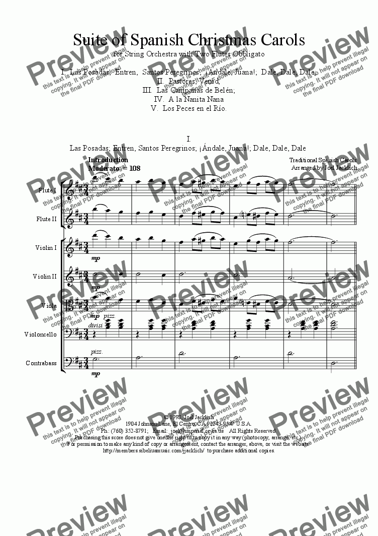 page one of Suite of Spanish Christmas Carols for Two Flutes and String Orchestra