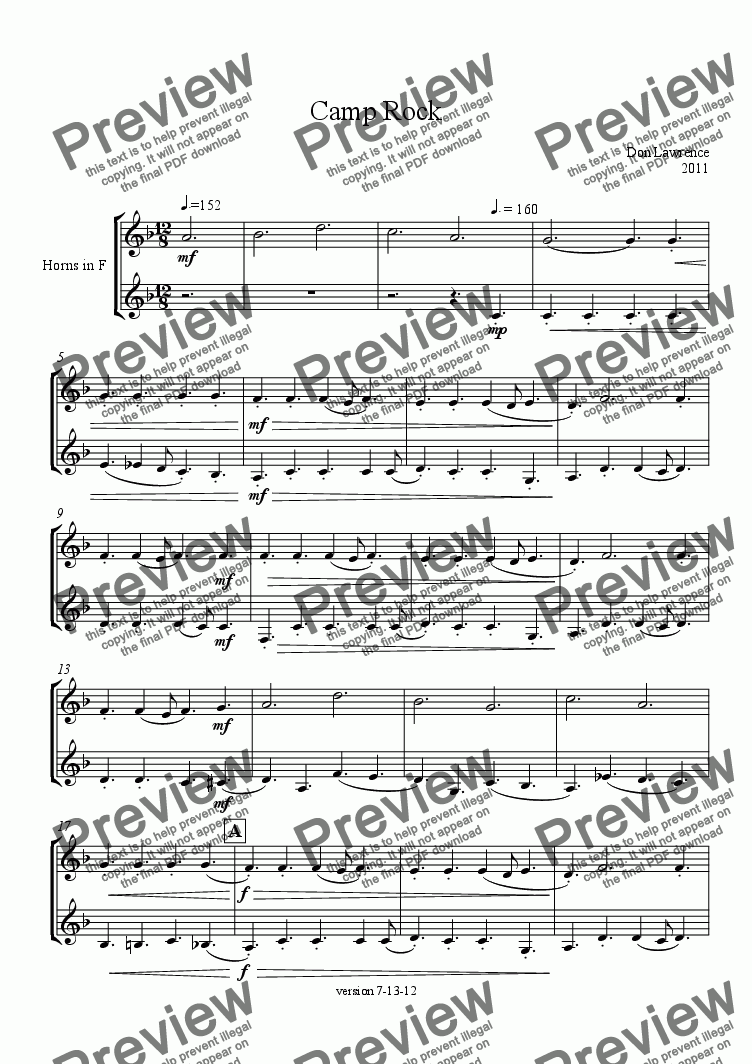 page one of Camp Rock (horn duet)