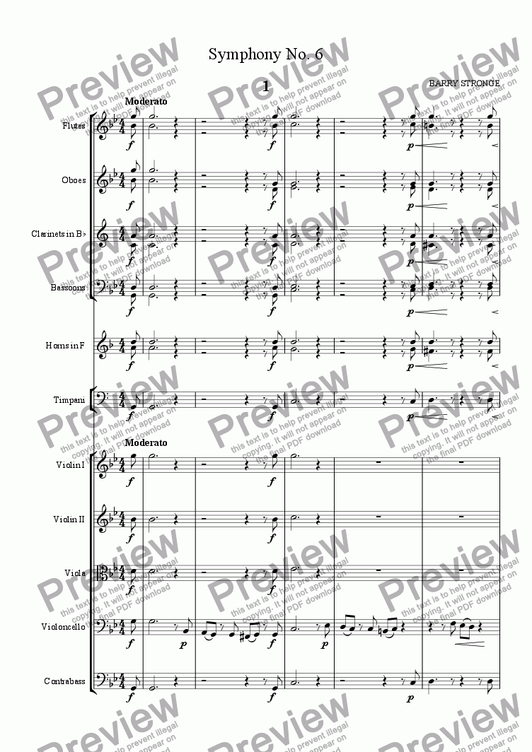 page one of Symphony No. 6 Movt. 1