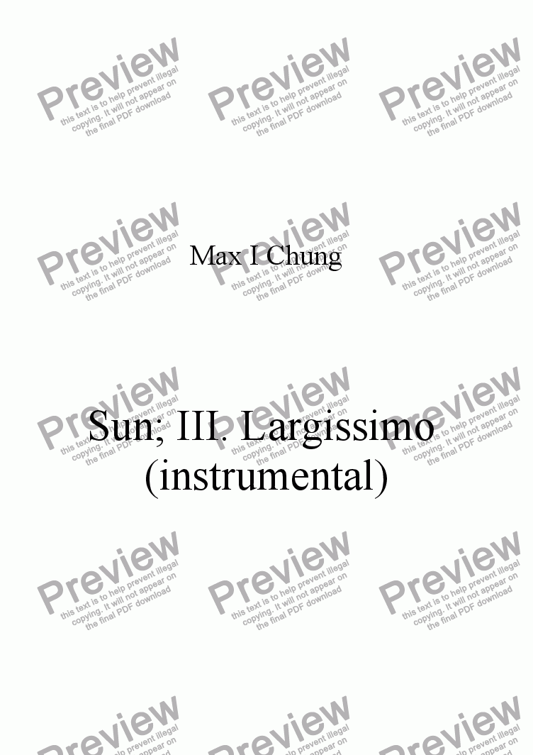 page one of Sun III. Largissimo (instrumental)ASALTTEXT