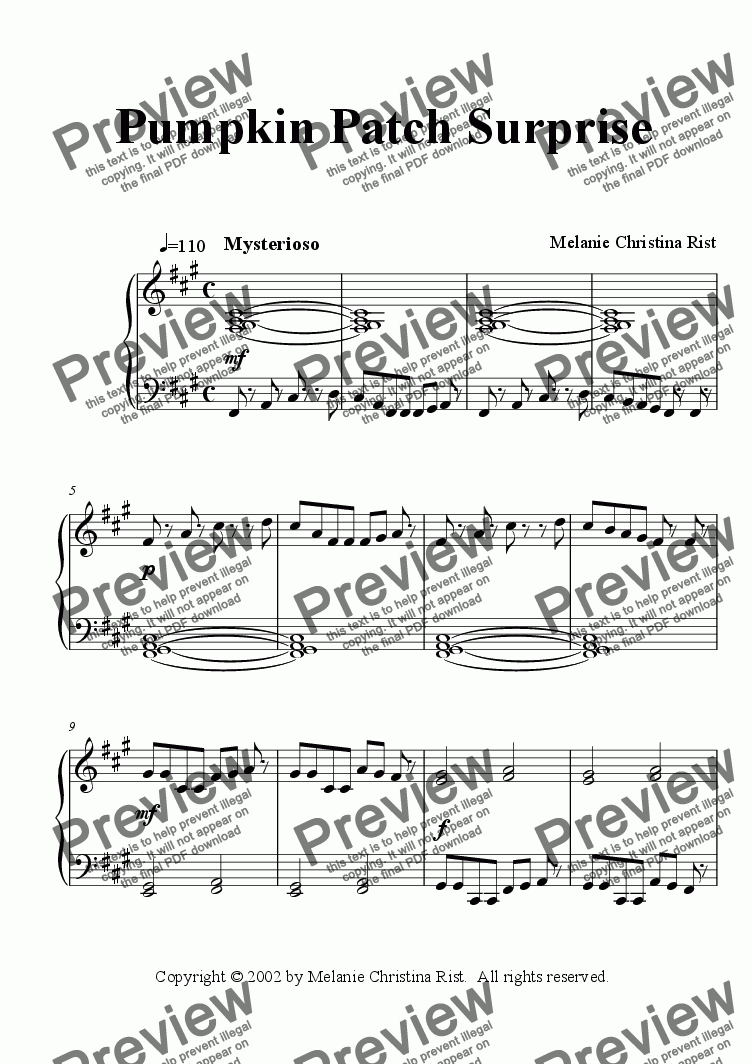 page one of Pumpkin Patch Surprise (piano, by Melanie C. Rist)