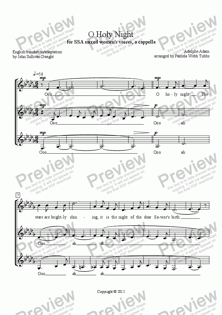 page one of O Holy Night (ADAM), Christmas anthem for SSA trio (3-part) mixed women's voices, a cappella, arr. by Pamela Webb Tubbs