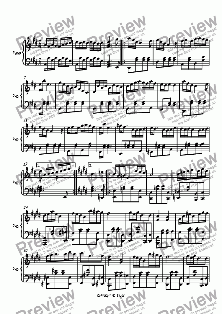 page one of Ragtime #93 in D Major