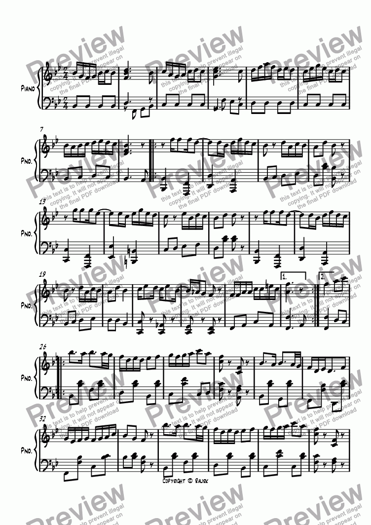 page one of Ragtime #95 in B Flat Major
