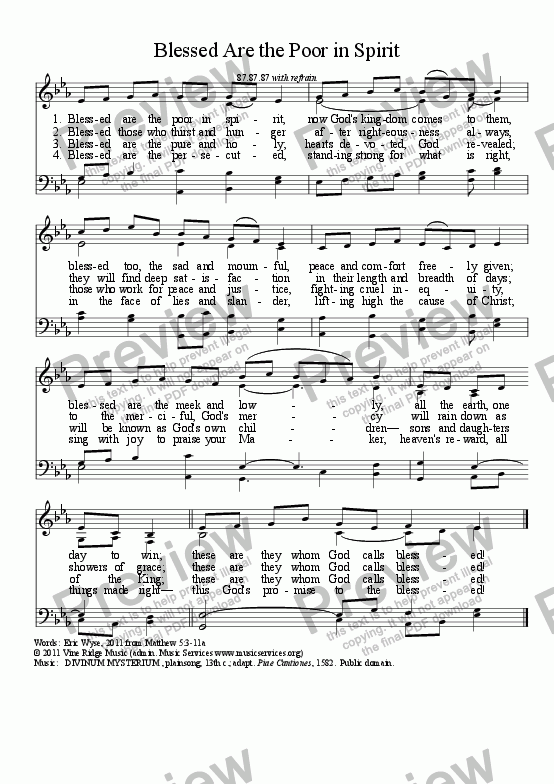 page one of Blessed Are the Poor in Spirit (tune: DIVINUM MYSTERIUM)