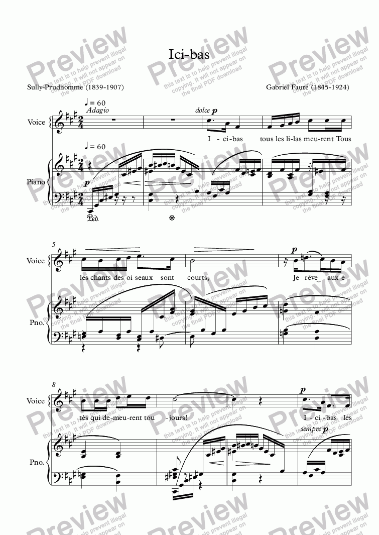 page one of Ici-bas (G. Fauré / Sully-Prudhomme)