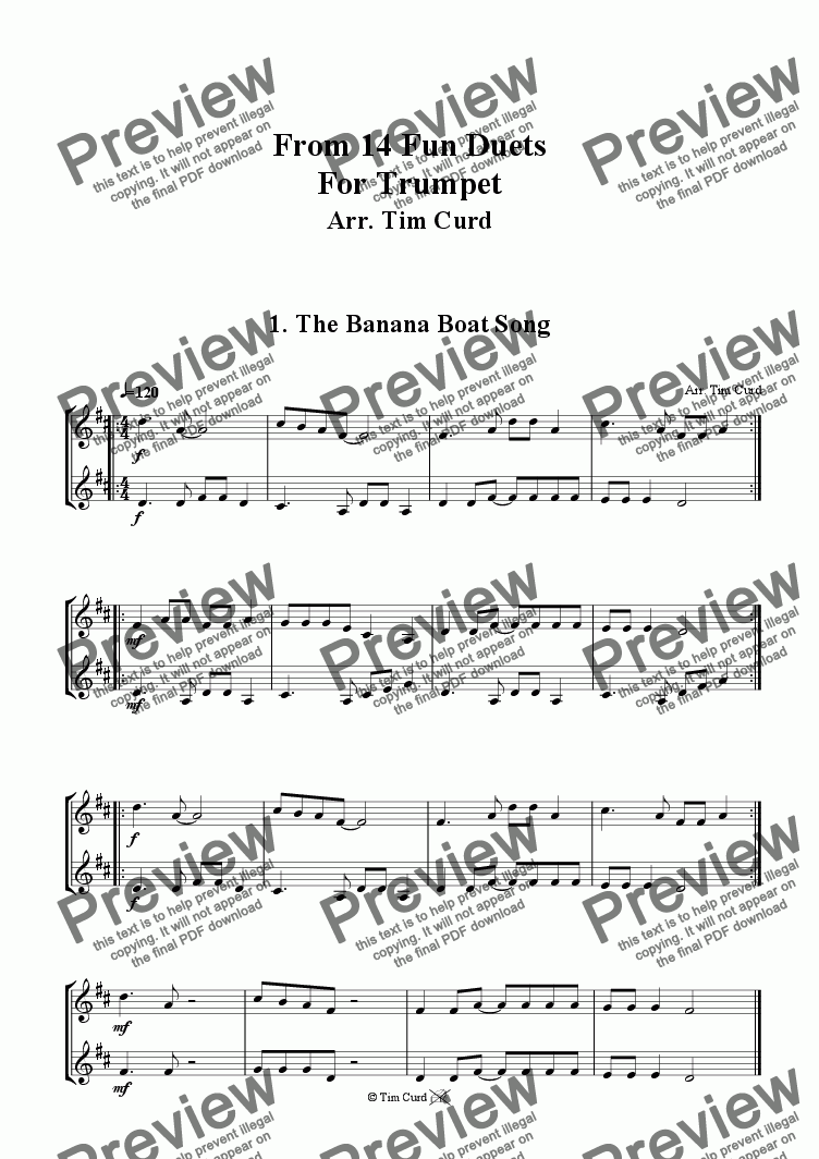 The Banana Boat Song - Trumpet Duet  for Duet of Trumpets in Bb by Trad  -  Sheet Music PDF file to download