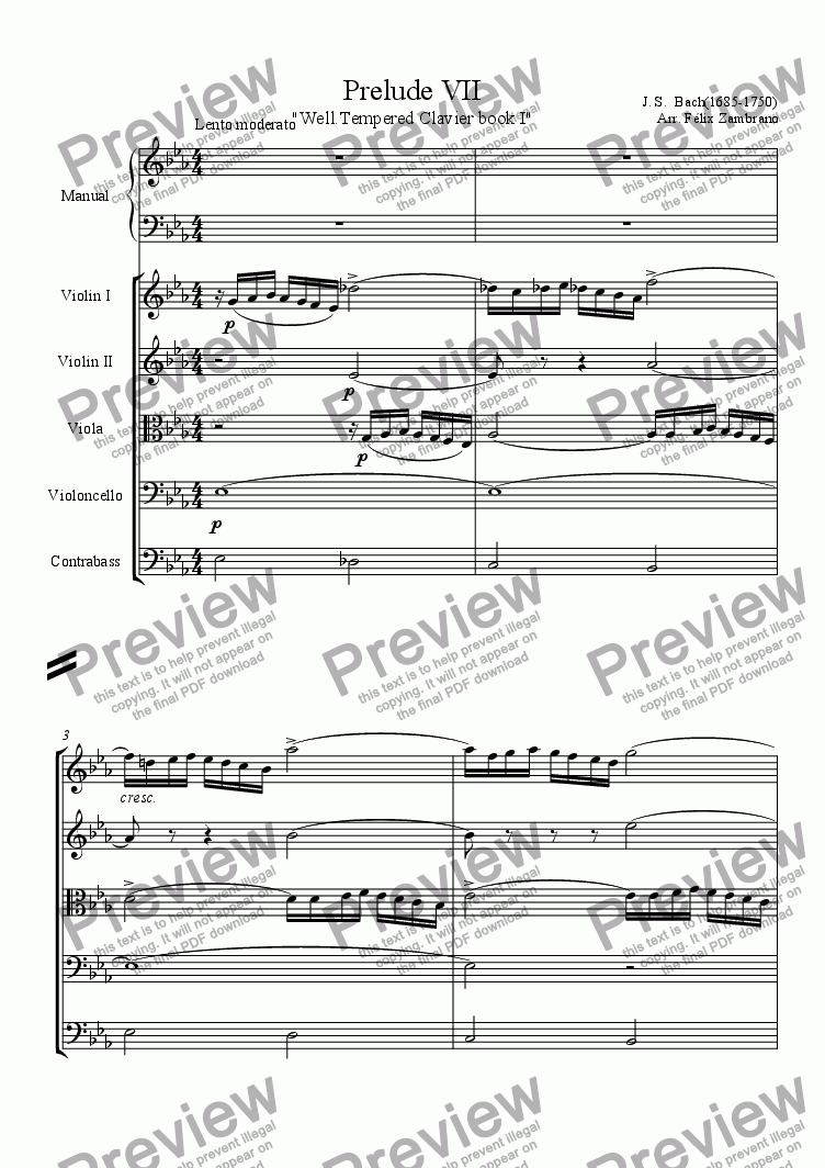 "page one of Prelude VII ""well-tempered clavier"""