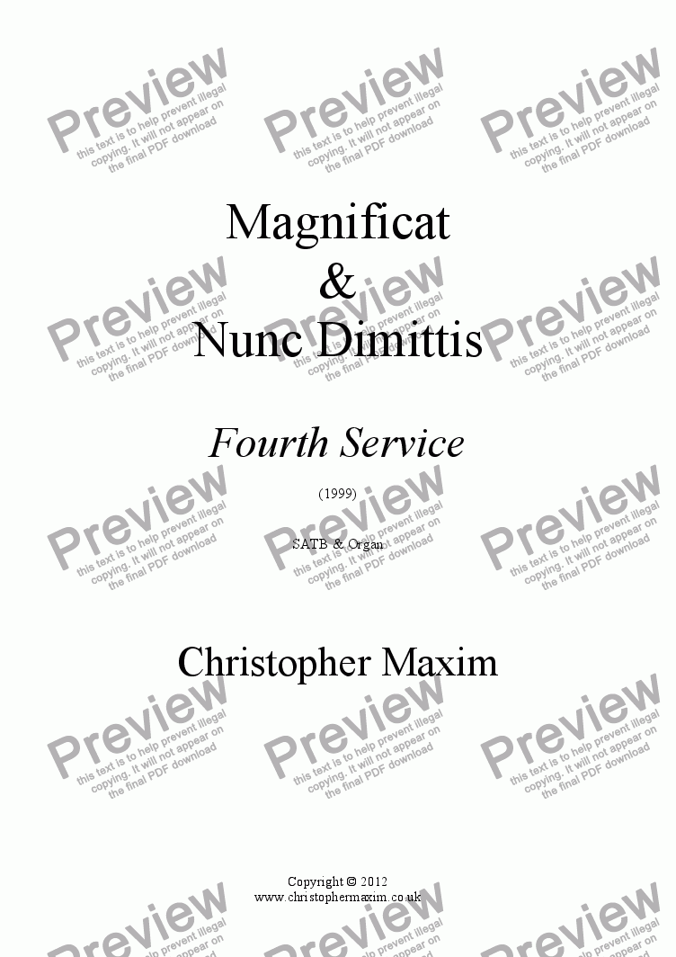 page one of Magnificat & Nunc Dimittis (Fourth Service)
