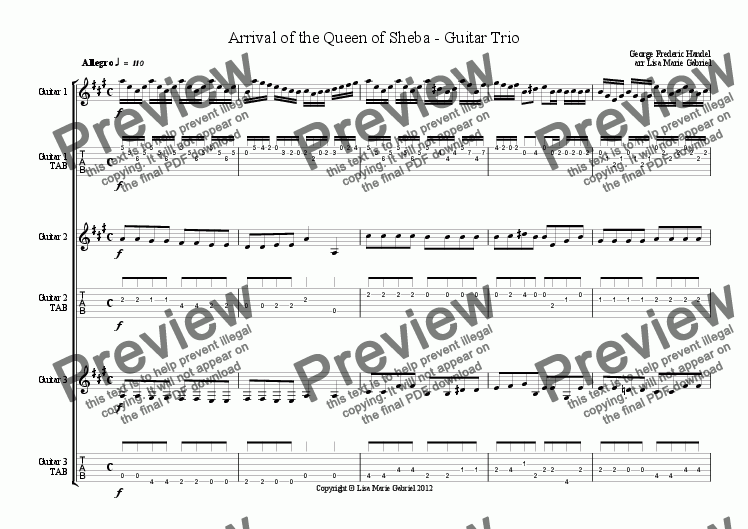 page one of Arrival of the Queen of Sheba - Guitar Trio