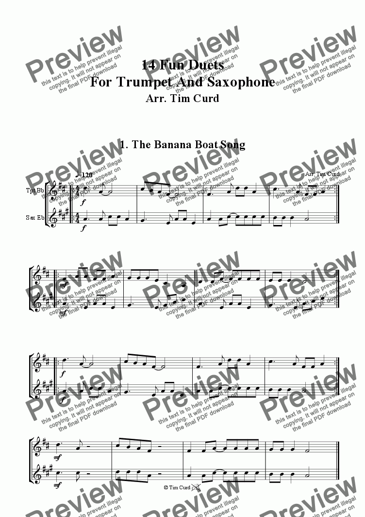 page one of The Banana Boat Song - Trumpet And Alto Saxophone Duet.