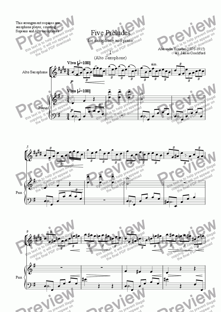 page one of Five Preludes for Alto/Soprano Saxophone and PianoASALTTEXT