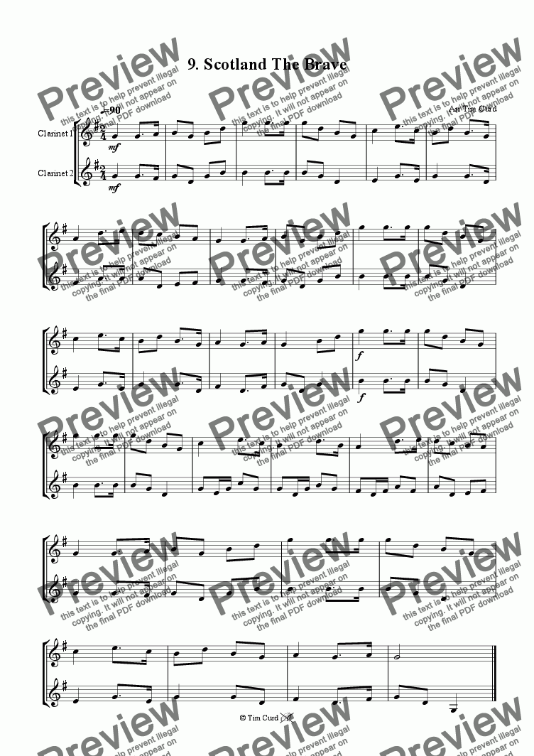 page one of Scotland The Brave - Clarinet Duet.