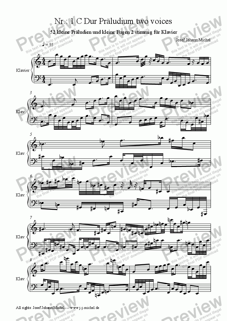 page one of Nr.: 1 C Dur Präludium two voices