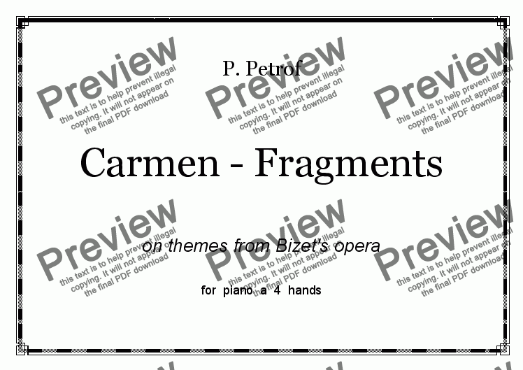 page one of CARMEN FRAGMENTS - piano 4 hands