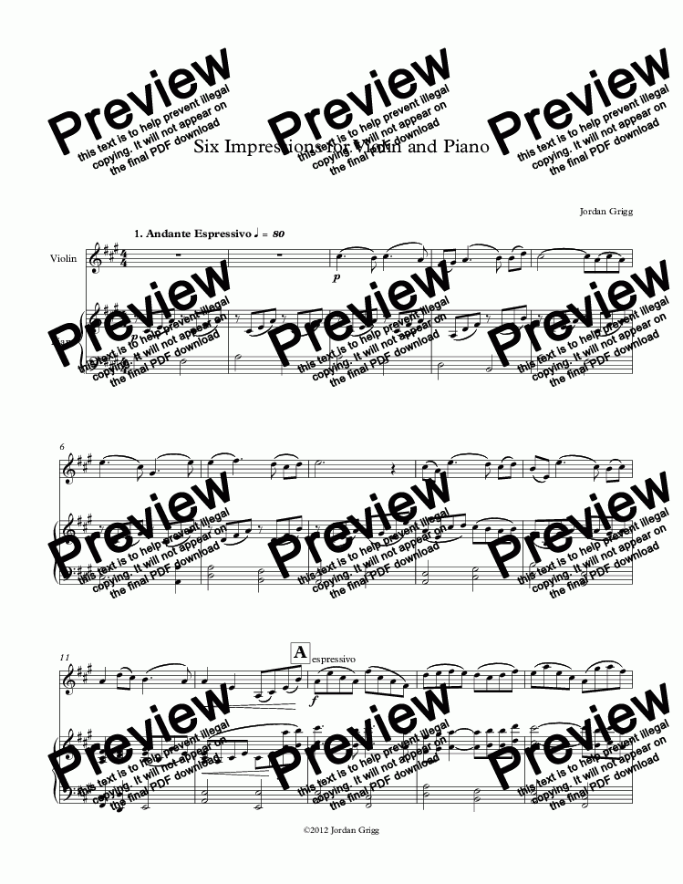 page one of Six Impressions for Violin and Piano