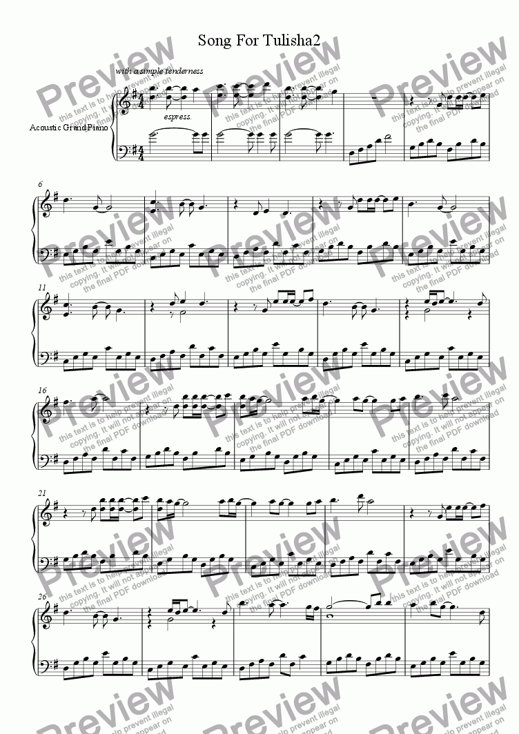 page one of Song For Tulisha2ASALTTEXT