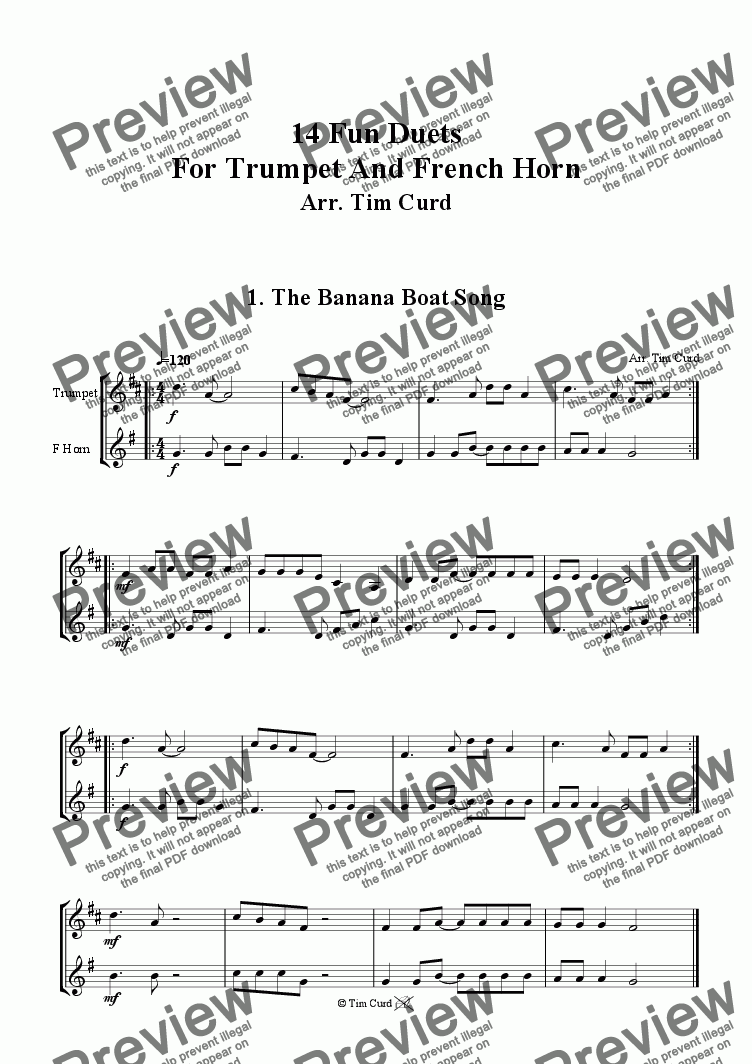 page one of The Banana Boat Song - Trumpet And F-Horn Duet.ASALTTEXT