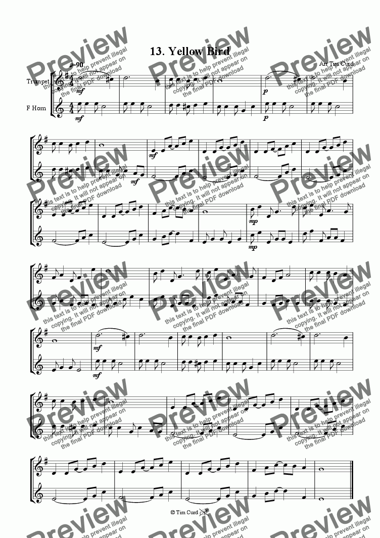 page one of Yellow Bird - Trumpet And F-Horn Duet.