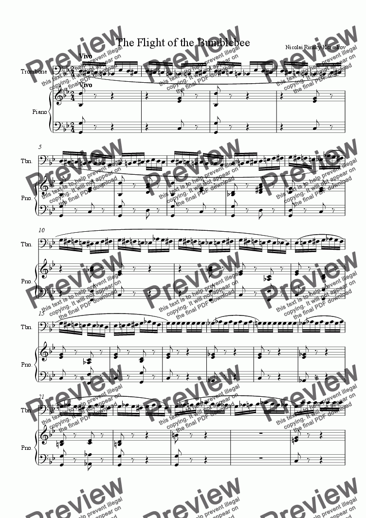 page one of The Flight of the Bumblebee for TromboneASALTTEXT