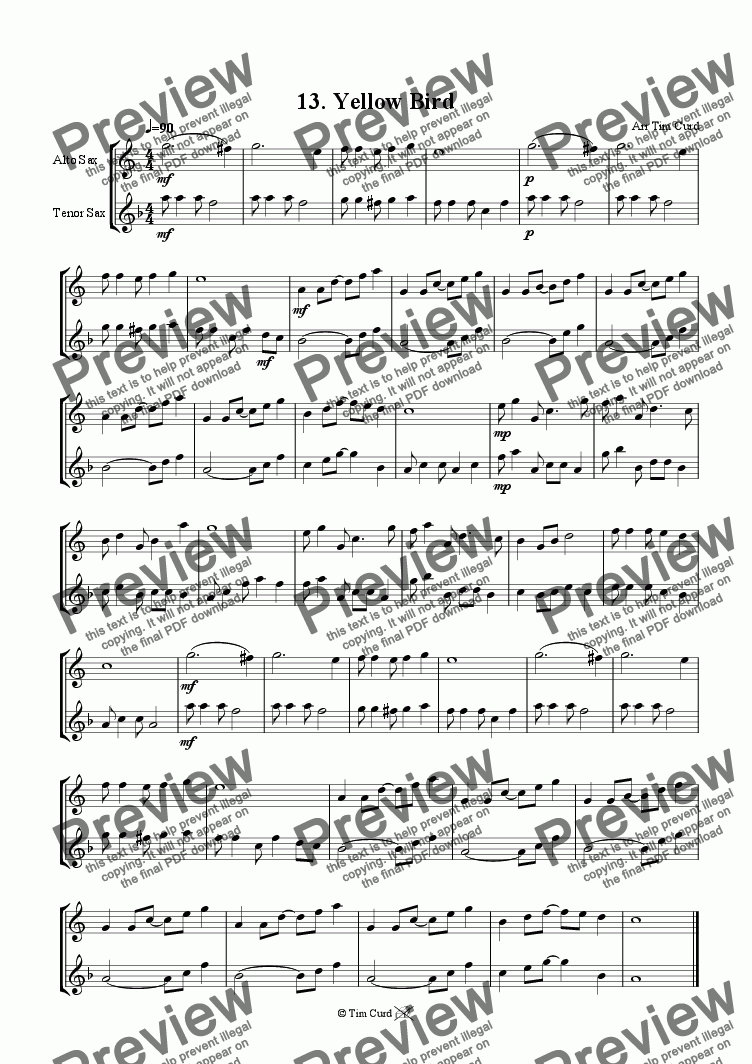 page one of Yellow Bird - Alto And Tenor Saxophone Duet.