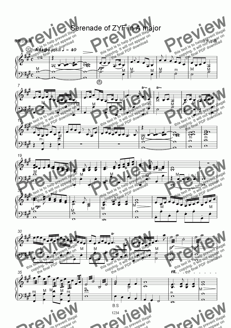 "page one of Serenade of ZYF in A major""Dreaming River"" 1 Largo"