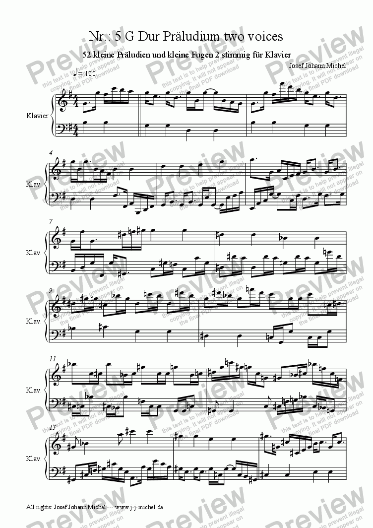page one of Nr.: 5 G Dur Präludium two voicesASALTTEXT