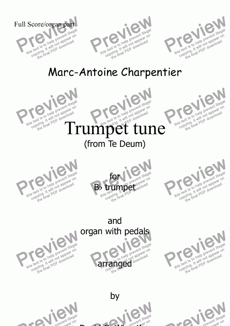 page one of Trumpet tune (Te Deum - Charpentier) for trumpet in Bb and organ