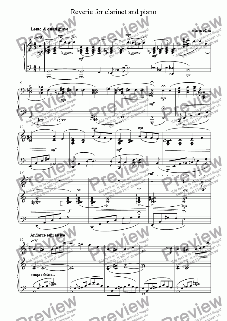 page one of Reverie for clarinet and piano