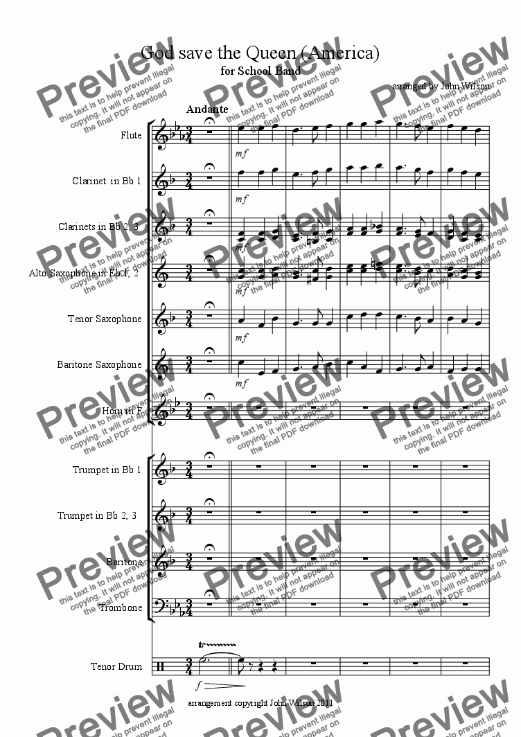 page one of God save the Queen (America) for School Band