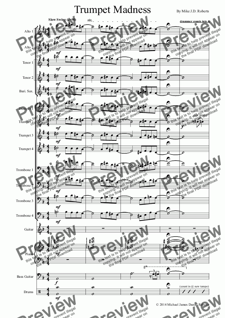 Trumpet Madness (big band) for Big band by Michael Roberts - Sheet Music  PDF file to download