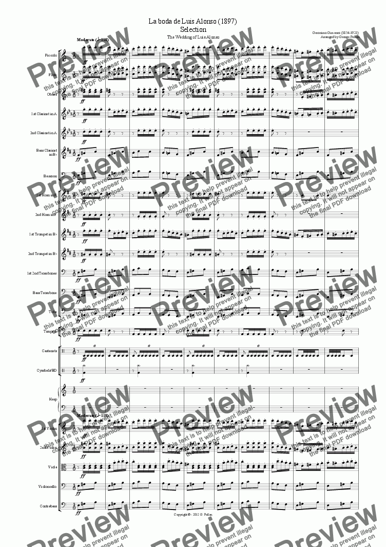 La Boda de Luis Alonso (Orch) for Orchestra by Geronimo Gimenez (1854-1923)  - Sheet Music PDF file to download