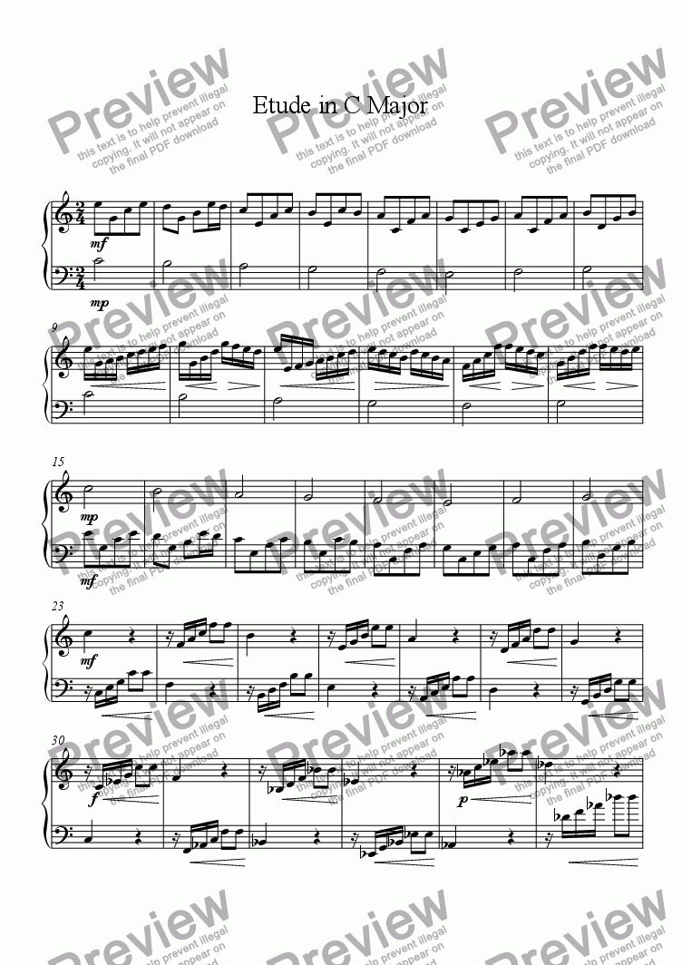 page one of Etude in C Major