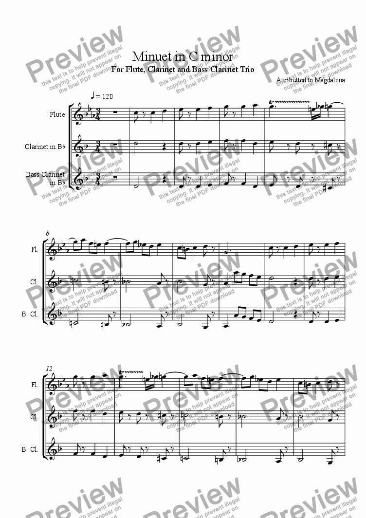 page one of Minuet in C minor