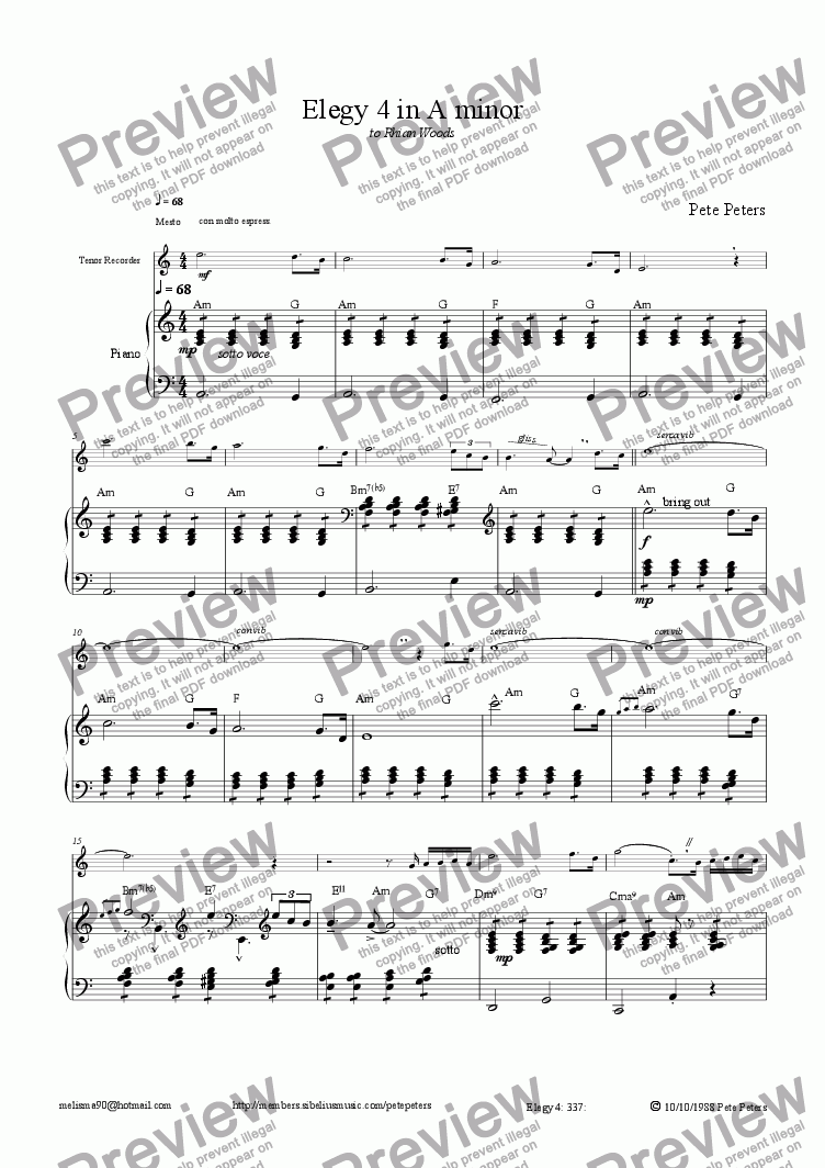 page one of Elegy 4 in A minor [oboe, ten rec or flute]