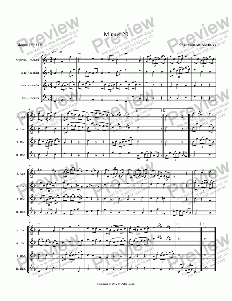 page one of Minuet 20 (for SATB recorders)ASALTTEXT