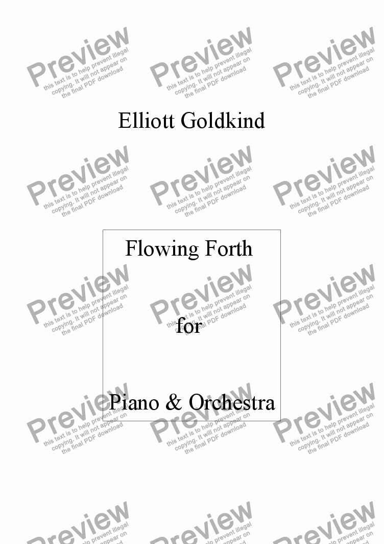page one of Flowing Forth  for Piano & Orchestra