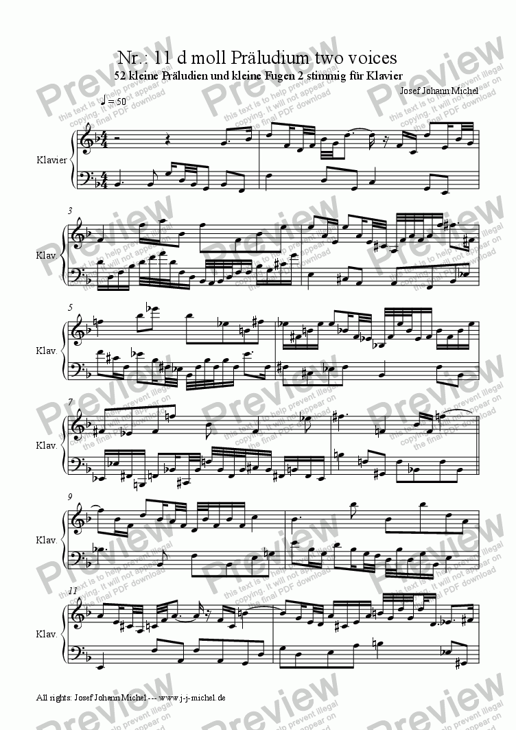 page one of Nr.: 11 d moll Präludium two voices