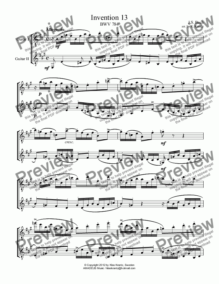 page one of Invention 13 BWV 784 guitar duet