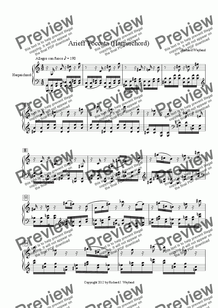 page one of Arieff Toccata (Harpsichord)
