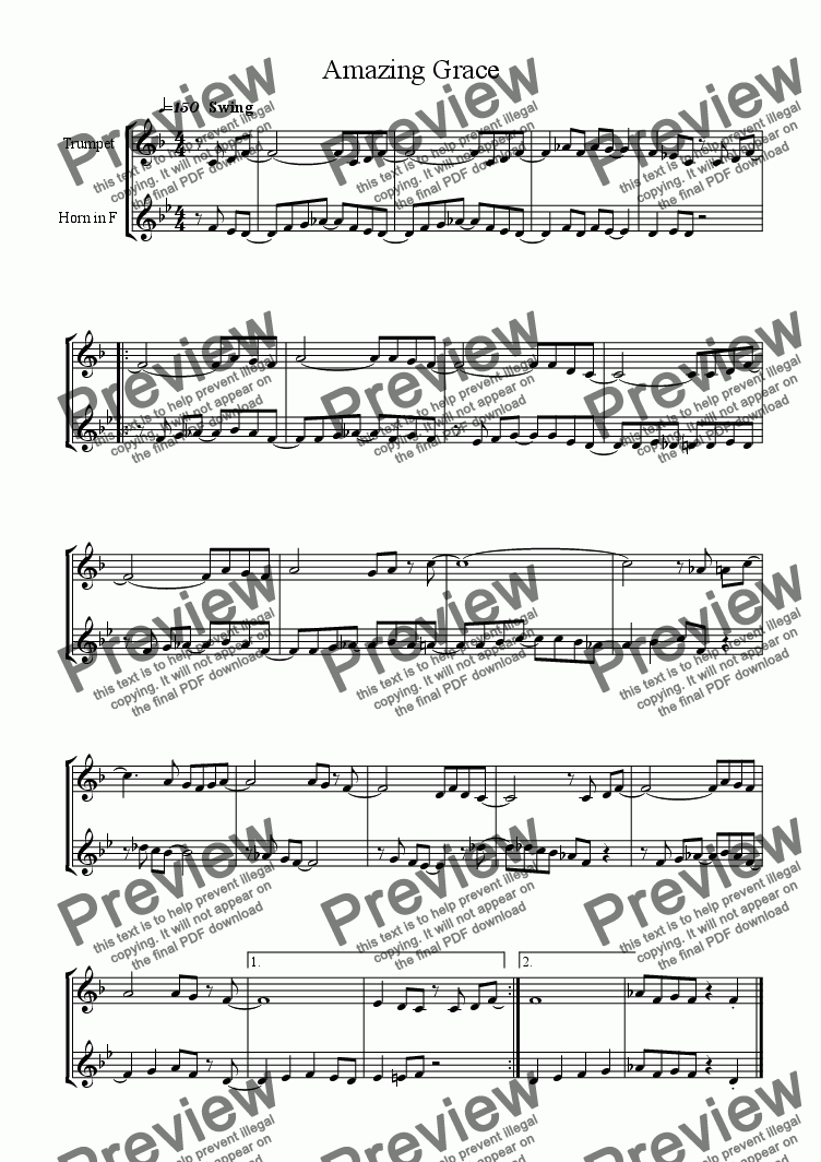 page one of Amazing Grace - Trumpet and French Horn Duet.